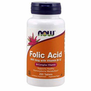 Folic acid 800 mcg – 250 comprimés – Now foods