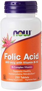 Folic Acid 800mcg + B-12 25mcg Vegetarian 250 Tablets