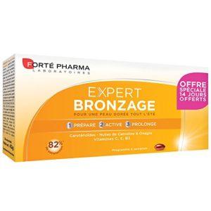 Forté Pharma Expert Bronzage | Complément alimentaire pour préparer la peau au soleil | 56 Comprimés dont 14 Jours Offerts = 4 semaines