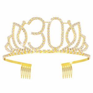 Frcolor Couronne Anniversaire 30 Ans Tiare Diadème Princesse avec Peigne Strass Cristal (Or)