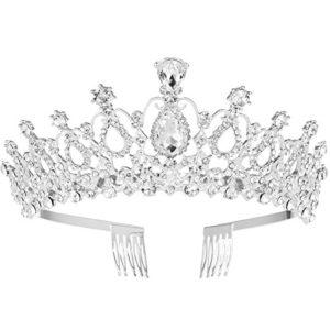 FRCOLOR diadème de mariage cristal strass diadème couronne avec peigne Pageant princesse couronne (argent)
