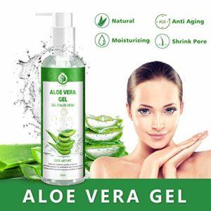Gel d'Aloe Vera 100 % Bio, Gel Hydratant Visage & Corps Cheveux Crème, Aloe Vera Après Soleil, Produit de Soins de la Peau 250ML