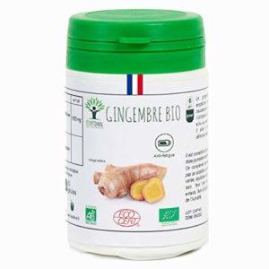 Gingembre bio | 60 gélules | Complément alimentaire | Energie – Mal des transport | Bioptimal – nutrition naturelle | Fabriqué en France