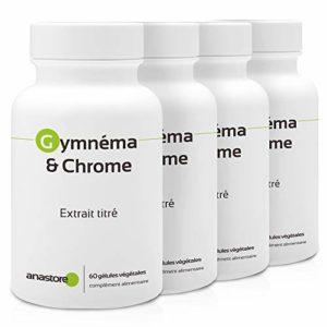 GYMNEMA & CHROME * PACK 3+1 GRATUIT * 400 mg / 240 gélules * Cardiovasculaire (glucose) * Garantie Satisfait ou Rembours * Fabriqué en France
