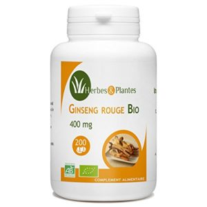 Herbes Et Plantes Ginseng Rouge Bio 200 Comprimés 400 mg