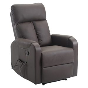 Homcom Fauteuil de Massage Relaxation électrique Chauffant inclinable 180° avec Repose-Pied Ajustable Coloris Marron