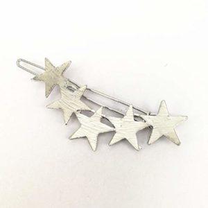 Hoveey Barrette à cheveux en forme d'étoile à cinq branches Argenté