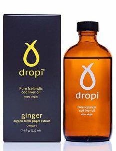 Huile de foie de morue extra vierge pur islandaise Dropi – Gingembre – Liquide 220 ml – Dropi Pure Icelandic Extra Virgin Cod Liver Oil – Ginger – 220ml Liquid