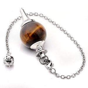 JOVIVI Pendule Esoterisme Radiesthésie Divination Rod Agate Pierres Chakra Pendantif Combinaison Bracelet (Oeil De Tigre Naturel)