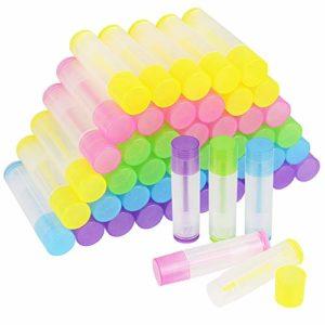 Kbnian 50Pcs Tube Vide de Baume à Lèvres en Plastique de Qualité Cosmétique 5.5ML Tube Transparent avec Base Rotative et Capuchon pour Fabrication DIY Baume à Lèvres Rouge a Lèvres en Maison