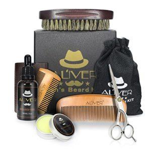 Kit de soin de barbe avec de l'huile de barbe, cire de moustache au beurre baume de barbe, peigne à barbe en bois, brosse à poils de barbe et brosse à barbe pour hommes