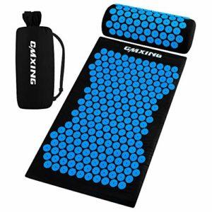 Kit d'Acupression Tapis Coussin de Massage,CMXING Coussin de massage d'acupuncture, Comprend tapis+ Oreiller + sac pour Yoga Traitement détend et soulage le stress,Bleu, 67 × 41 × 2,5 cm