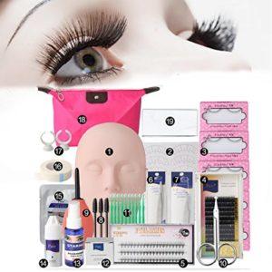 Kit Professionnels Faux Cils Noir Extension Naturel LuckyFine -Colle Cils Kit de Brosse Set Case Box Tool Salon Outils Nécessaires-Débutant Pratique Formation – avec Sac Maquillage