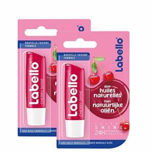 Labello Baumes à lèvres Cherry Shine 4,8 g – Lot de 2