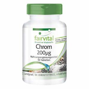 Le picolinate de chrome 200 ug de vrac, pendant 3 mois – dosage élevé – végan – 90 comprimés
