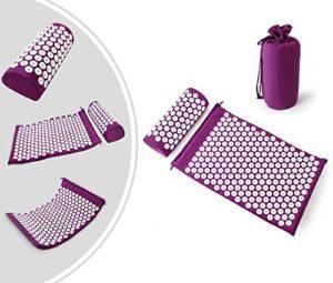 Leogreen – Kit d'Acupression avec Tapis et Coussin, Set de Massage, Violet, avec sac et coussin, Standards/Certifications: ROHS, Nombre de clous: 66 pieces sur oreiller