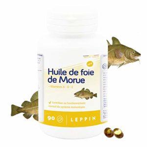LEPPIN – Huile de FOIE DE MORUE – 90 comprimés – Oméga 3 + Vitamnies A et D – Certifié SANS MÉTAUX LOURDS – Compléments alimentaires naturels