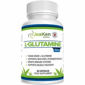 L-GLUTAMINE de JeaKen – 60 x 850mg Capsules de qualité supérieure – Augmente la récupération musculaire, le système immunitaire et la production d'hormones – Fait au Royaume-Uni selon le code GMP