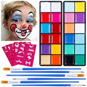 Lictin 24*Face Painting – Palette de Maquillage Visage Corp Kit de Peinture de Haute Qualité Professionnelle Ensembles de Cosmétiques Festival Party Painting Art pour Enfants et Adultes Non-Toxique