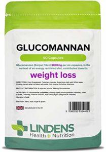 Lindens Glucomannane (fibre de konjac) 500mg en gélules | 90 Lot | Aide à la perte de poids, contribue à réduire l'appétit. Complément alimentaire pour la perte de poids nº1 de Lindens