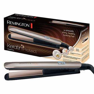 Lisseur Keratin Protect S8540 Remington # Revêtement Advanced Ceramic avec soin Kératine & Huile d'Amande / 9 Niveaux de température : 150 – 230°C / Plaques souples XL 110 mm