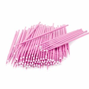 Lot de 200 micro applicateurs jetables pour faux cils rose