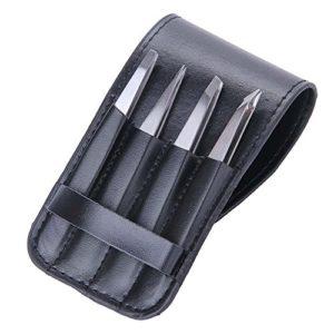 Lot de 4pinces à épiler professionnelle en acier inoxydable Pinces à épiler avec étui de transport–Meilleure Précision pour sourcils et échardes, poils incarnés.