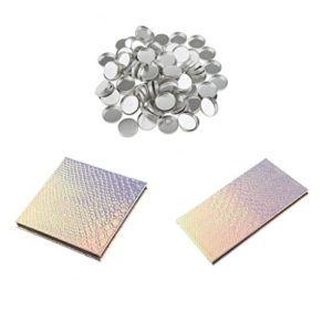 MagiDeal 2pcs Vide Palette Magnétique Conteneur Boîte Fard à Paupières / Poudre Fond de Teint + 100pcs Casserole Pans à Poudre Pressé