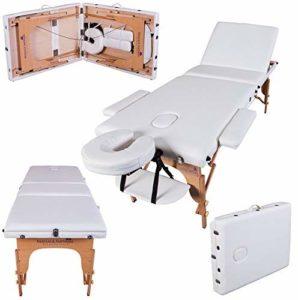 Massage Imperial® Chalfont -Table de massage Portable pro luxe – 3 Zones – Panneaux Reiki – Légère – Couleur : Ivoire Blanc