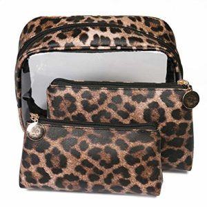 MKHDD Lot de 3 Sacs en PVC Motif léopard Imprimé Trousse de Maquillage pour Femme Sac de Rangement de Maquillage Imperméable Transparent, b