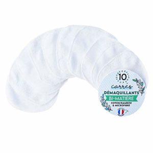 Modulit – Prix de lancement : 10 Carrés Démaquillants lavables bi-face : coton et bambou, 10x10cm, Fabrication Française