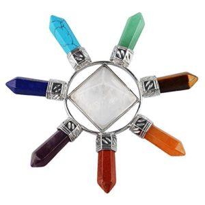 mookaitedecor Reiki Feng Shui Pyramide avec 7 Pierre Points,Générateur d'énergie Cristaux pour Chakra Guérison Cristal Décor