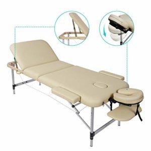 Naipo Table de Massage Lit 3-Section Portable Table Canapé Pieds en Aluminum pour Massage Spa Tatouage et Soins du Visage – Beige (poids Capacité: 270kg)