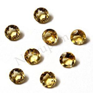 Neerupam Collection Jaune doré Couleur Naturelle Afrique Citrine AA Qualité 8 mm Taille Facettes Rond Forme Pierres précieuses en Vrac