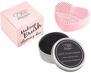 Nettoyeur Pinceau de Maquillage – Éponge sèche enlève instantanément n'importe quelle couleur, couleur de commutateur sans brosses de commutation – rose, mitaine de coeur nettoie des brosses