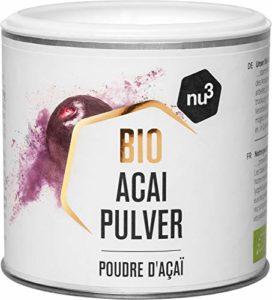 nu3 Poudre d'Açaï Bio – 65g – Super Ingrédient Bio Riche en Nutriments et Idéal en Smoothies et Shakes Protéinés – Excellent Anti-Oxydant Originaire D'Amérique du Sud
