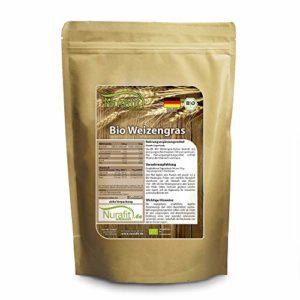 Nurafit Agropyre poudre BIO | Herbe de blé organique | cultivée en Allemagne, certifiée BIO | certifiée de haute qualité | Pour de délicieux smoothies pendant votre cure détox (500g)