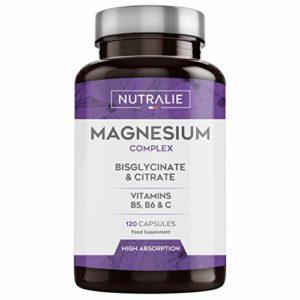 NUTRALIE | Magnésium et Vitamine B6 et C | Bisglycinate de Magnésium 100% Bio-disponible | 120 Capsules de 750 mg