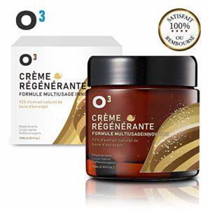 O³ Creme Bave Escargot Visage-Creme Hydratante Anti-Ride-Racines de ginseng et sécrétion d'escargot – 100% naturelle -Soin réparateur et cicatrisant. Régénérante. Tonifiante et efficace contre l'acné