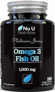 Omega 3 Huile de Poisson 1000 mg Double Force en EPA & DHA Gélules Softgel | Oméga 3 6 9 | 180 (Approvisionnement pour 6 Mois) l'Huile de Poisson Premium de 1000 mg | Fabriqué en GB par Nu U Nutrition