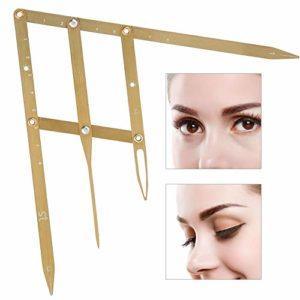 Outil de mesure de maquillage pour les yeux avec une règle de sourcil de tatouage permanent(Or)