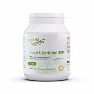 Pack de 3 Vita World Indole-3-Carbinol 300mg 3 x 120 gélules végétales Curcumine C3 Extrait de poivre noir Made in Germany