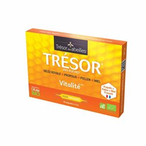 PACK TRESOR DES ABEILLES 3 boites + 1 offerte – 40 ampoules Bio de 5 ml – Gelée Royale+propolis+pollen FRANCAIS Vibraforce HYPER DOSE