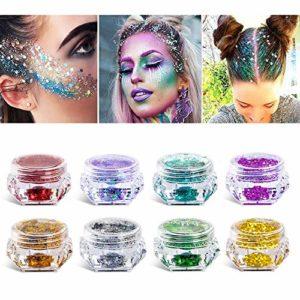 Paillettes cosmétiques, de maquillage pour le corps, visage et les ongles 6 boites de paillettes idéal pour des FÊTES D'ANNIVERSAIRES, avec des pigments colorés PAILLETTE SEULEMENT