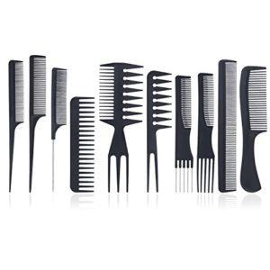 Peignes Kit de Coiffure – Meersee Set 10 Peigne Fibre Carbone Professionnel pour Salon Coiffure Barbe Cheveux