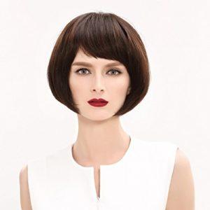 Perruque Perruque Europe et Amérique Court Cheveux Raides Vraie Cheveux Naturel Fluffy Mode Femmes Haute Qualité Perruques