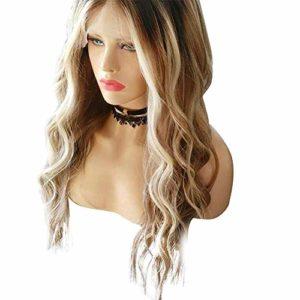 Perruques synthétiques, femmes perruque longue blonde bouclés ondulés synthétiques cheveux perruque cosplay partie résistante à la chaleur
