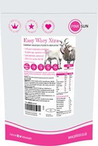 PINK SUN Easy Whey Xtra Poudre de Concentré de Protéine de Lait de Chèvre et de Mouton 420g (80% protein) Non Dénaturé non Aromatisé Pas de Sucre Ajouté