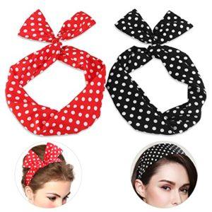 Pixnor 2 bandeaux de cheveux à pois polka rockabilly – Fil flexible – A nouer en oreilles de lapin – serre-tête à nœud – Bijou de cheveux – Cadeau