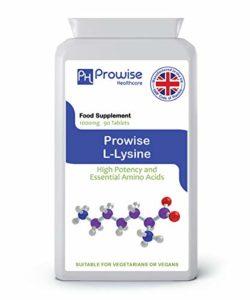 Prowise L-Lysine 1000mg – 90 comprimés – (puissance élevée et acides aminés essentiels) – RU Fabriqué à la qualité garantie de GMP – Approprié aux végétariens et aux végétaliens